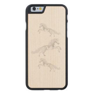Illustration White Unicorn Carved Maple iPhone 6 Case