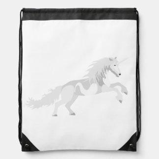 Illustration White Unicorn Drawstring Bag