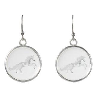 Illustration White Unicorn Earrings