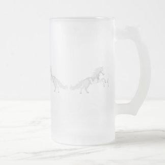 Illustration White Unicorn Frosted Glass Beer Mug