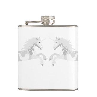 Illustration White Unicorn Hip Flask
