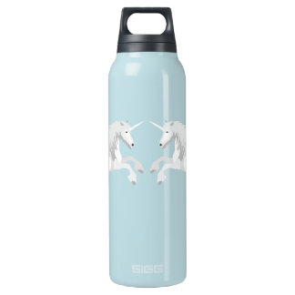 Illustration White Unicorn Insulated Water Bottle