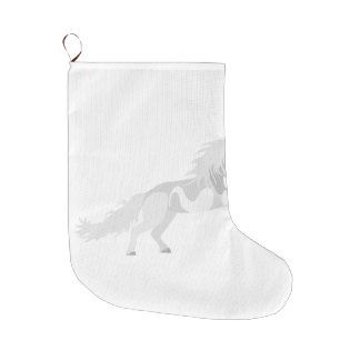 Illustration White Unicorn Large Christmas Stocking