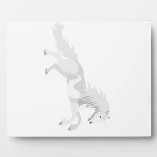 Illustration White Unicorn Plaque