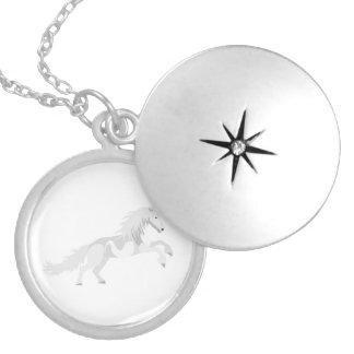 Illustration White Unicorn Silver Plated Necklace