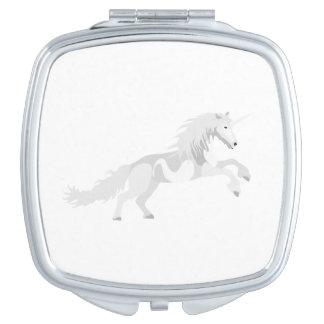 Illustration White Unicorn Travel Mirror