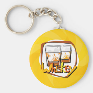 Illustration Wiskey on Ice Key Ring