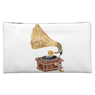 illustration with gramophone cosmetics bags