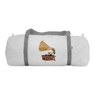 illustration with gramophone gym duffel bag