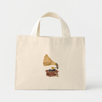 illustration with gramophone mini tote bag