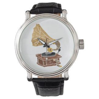 illustration with gramophone wrist watch