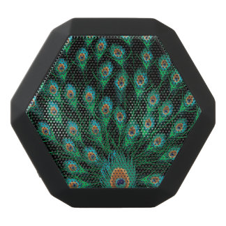 Illustration With Peacock Feathers on Black Black Boombot Rex Bluetooth Speaker