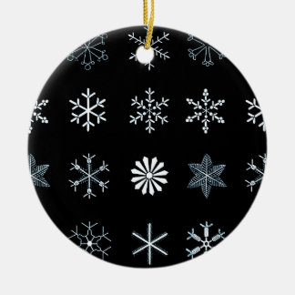 Illustrations of Snowflakes (Black) Round Ceramic Decoration