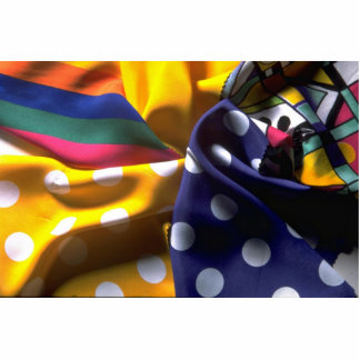 Illustrative Polka dot and striped fabric Standing Photo Sculpture