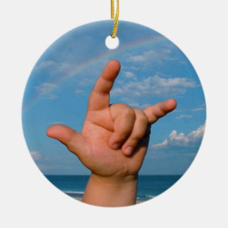 ILY hand under a rainbow  Sign Language Ceramic Ornament