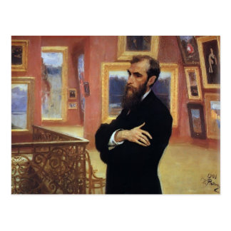 Ilya Repin- Portrait of Pavel Tretyakov Postcard