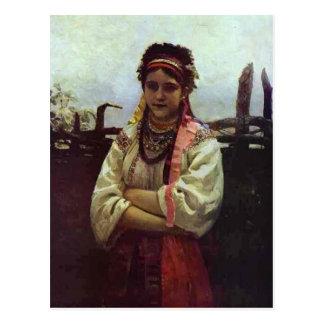 Ilya Repin- Ukranian Girl by a Fence Postcard