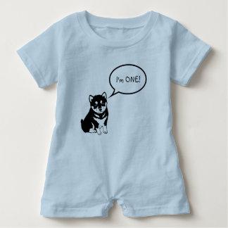 I'm 1 Dog Speech Bubble 2 Blue Baby Romper Baby Bodysuit