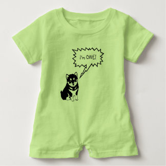 I'm 1 Dog Speech Bubble green Baby Romper Baby Bodysuit