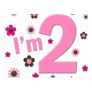 """I'm 2"" Pink & Brown Flowers Postcard"