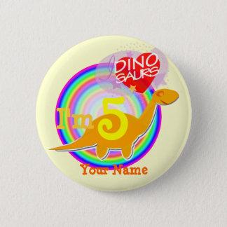 I'm 5 Birthday Party Orange Dino Your Name Button
