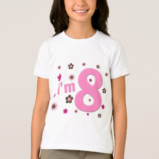 I'm 8 Pink And Brown Flowers T-Shirt