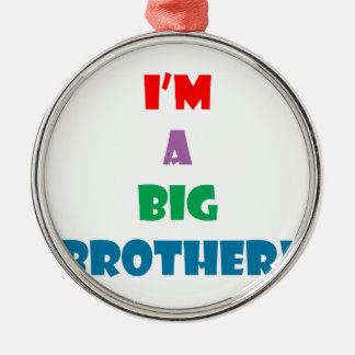 I'm a big brother text Silver-Colored round decoration