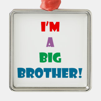 I'm a big brother text Silver-Colored square decoration