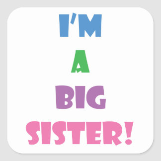 I'm a big sister text square sticker