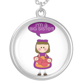i'm a big sister (twin sisters) silver plated necklace