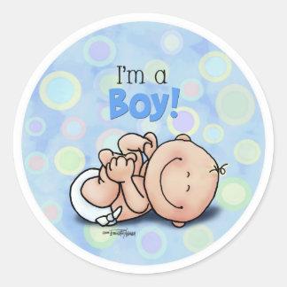 I'm a Boy - new baby Classic Round Sticker