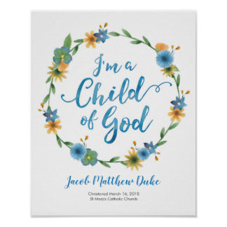 I'm a child of God personalised Baptism print