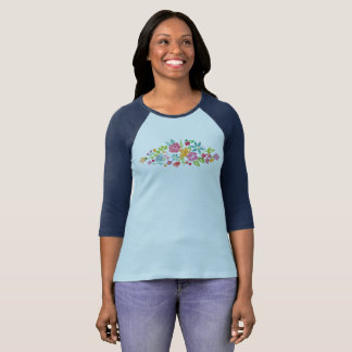 I'm a Fighter Watercolor Floral Raglan 3/4 Sleeve T-Shirt