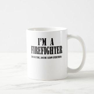 I'm a firefighter black coffee mug