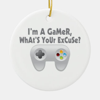 I'm A Gamer What's Your Excuse Double-Sided Ceramic Round Christmas Ornament