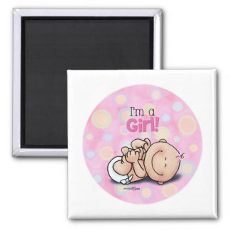 I'm a Girl - new baby Square Magnet