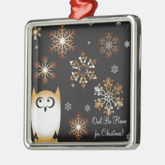 I'm a Hoot! Owl Lovers Punny Holiday Owl Silver-Colored Square Decoration