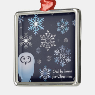 I'm A Hoot Snowy Owl Christmas Owl Blue Silver-Colored Square Decoration