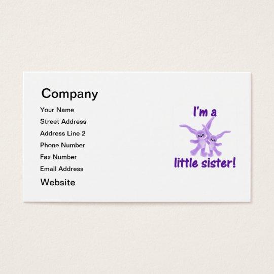 I'm a little sister (purple bunnies) business card
