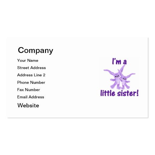I'm a little sister (purple bunnies) pack of standard business cards