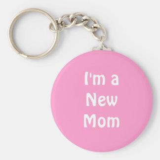Im a New Mom. Basic Round Button Key Ring