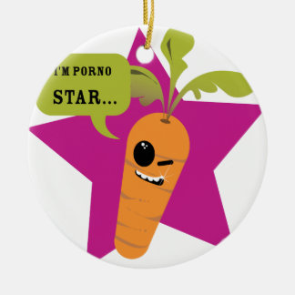 i'm a porn star !! © Les Hameçons Cibles Round Ceramic Decoration