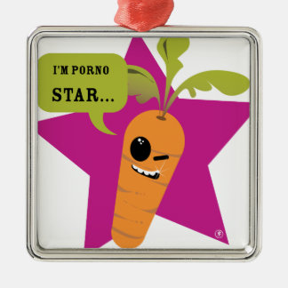 i'm a porn star !! © Les Hameçons Cibles Silver-Colored Square Decoration
