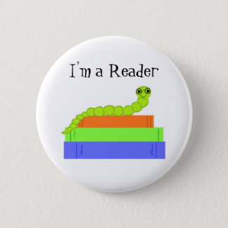I'm a Reader, Bookworm 6 Cm Round Badge