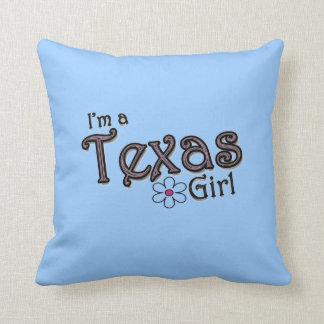 I'm a Texas Girl, Flower Blue Decorative Pillow