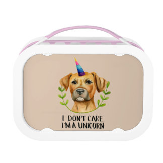 """I'M A UNICORN"" Pit Bull Dog Illustration Lunch Box"