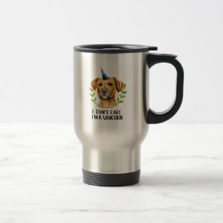 """I'M A UNICORN"" Pit Bull Dog Illustration Travel Mug"