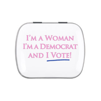 I'm a Woman, I'm a Democrat, and I Vote! Candy Tin