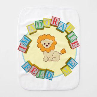 I'm Adorable Feed Me! Lion Doodle Noodle Designs Burp Cloth