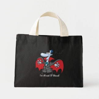 I'm Afraid Of Blood! Funny Halloween Tiny Tote Bags